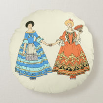 Women In Blue and Red Costumes Holding Hands Round Pillow at Zazzle