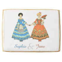 Women In Blue and Red Costumes Holding Hands Jumbo Cookie at Zazzle