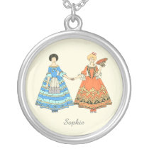 Women In Blue and Red Costumes Holding Hands Jewelry at Zazzle
