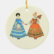 Women In Blue and Red Costumes Holding Hands Ornaments at Zazzle