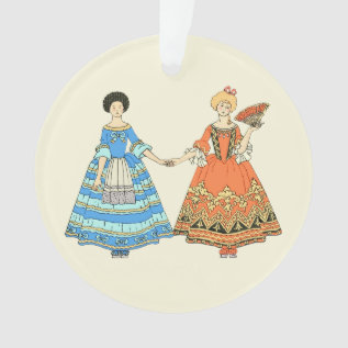Women In Blue And Red Costumes Holding Hands Ornament at Zazzle