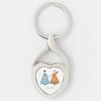 Women In Blue and Red Costumes Holding Hands Keychain at Zazzle