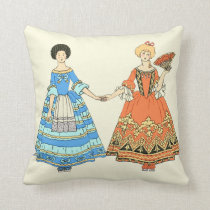 Women In Blue and Red Costumes Holding Hands Throw Pillow at Zazzle