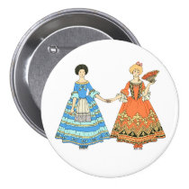 Women In Blue and Red Costumes Holding Hands Pin at Zazzle