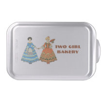Women In Blue and Red Costumes Holding Hands Cake Pan at Zazzle