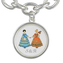 Women In Blue and Red Costumes Holding Hands Bracelet at Zazzle