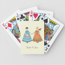 Women In Blue and Red Costumes Holding Hands Bicycle Playing Cards at Zazzle