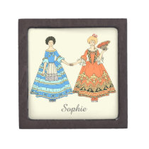 Women In Blue and Red Costumes Holding Hands Premium Jewelry Boxes at Zazzle