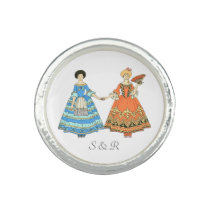 Women In Blue and Red Costumes Holding Hands Rings at Zazzle