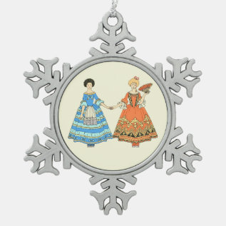 Women In Blue And Red Costumes Holding Hands Snowflake Pewter Christmas Ornament at Zazzle
