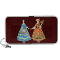 Women In Blue and Red Costumes Holding Hands Travelling Speakers at Zazzle