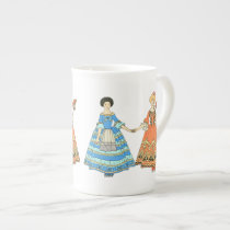 Women In Blue and Red Costumes Holding Hands Bone China Mug at Zazzle