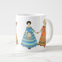 Women In Blue and Red Costumes Holding Hands Jumbo Mug at Zazzle