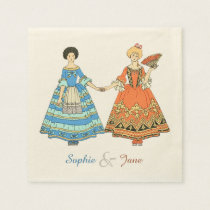 Women In Blue and Red Costumes Holding Hands Disposable Napkin at Zazzle