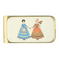 Women In Blue and Red Costumes Holding Hands Gold Finish Money Clip at Zazzle