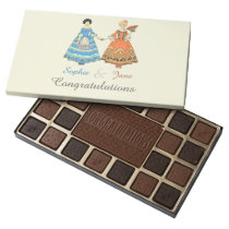 Women In Blue and Red Costumes Holding Hands 45 Piece Assorted Chocolate Box at Zazzle