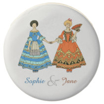 Women In Blue and Red Costumes Holding Hands Chocolate Dipped Oreo at Zazzle