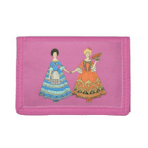 Women In Blue and Red Costumes Holding Hands Tri-fold Wallet at Zazzle