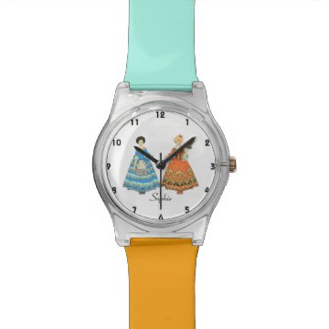 Women In Blue and Red Costumes Holding Hands Wrist Watch at Zazzle