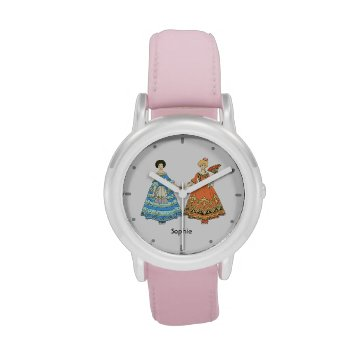 Women In Blue and Red Costumes Holding Hands Watches at Zazzle