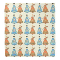 Women In Blue and Red Costumes Holding Hands Bandanna at Zazzle