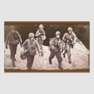 Women in Combat Gear WWII Rectangular Sticker