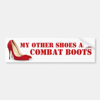 Women in Combat Red Stiletto Heels Bumper Sticker