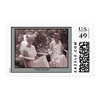 Women In Garden Postage Stamp