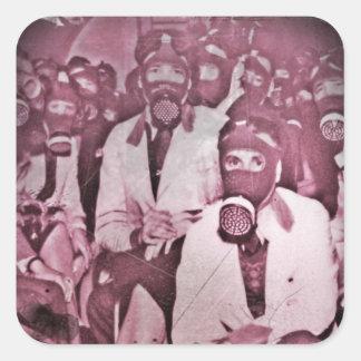 Women in Gas Masks Square Sticker