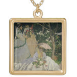 Women in the Garden, detail of a Seated Woman with Square Pendant Necklace