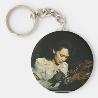 Women in the Workplace during WWII Basic Round Button Keychain