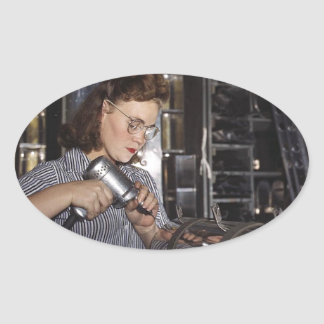 Women in the Workplace during WWII Oval Sticker