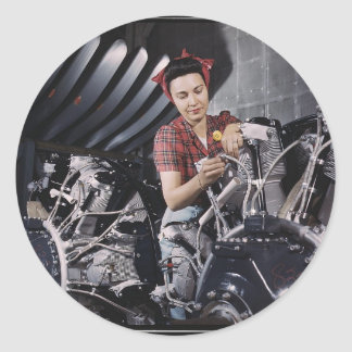 Women in the Workplace during WWII Classic Round Sticker