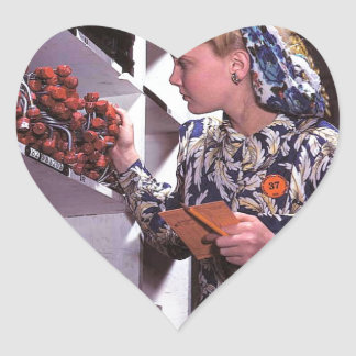 Women in the Workplace during WWII Heart Sticker