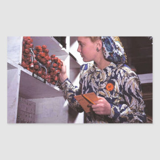 Women in the Workplace during WWII Rectangular Sticker