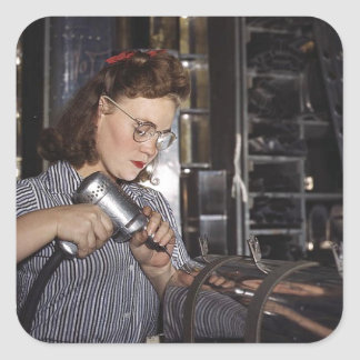 Women in the Workplace during WWII Square Sticker