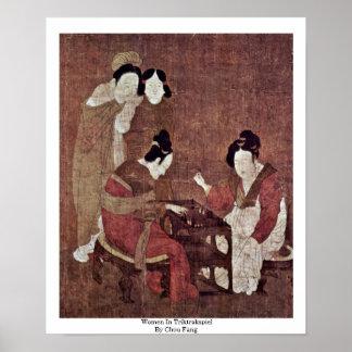 Women In Triktrakspiel By Chou Fang Print