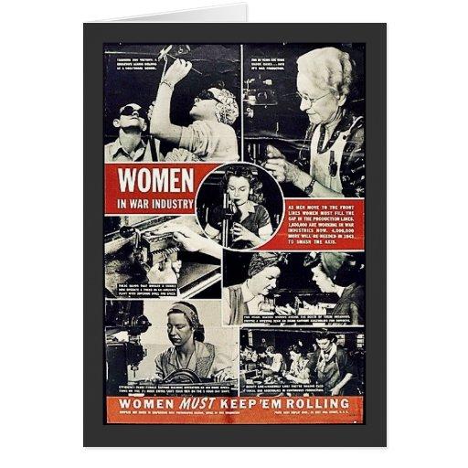 Women In War Industry Greeting Card