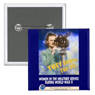 Women Joining the Weather Service WWII Pinback Button
