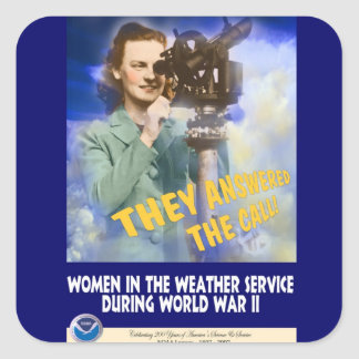 Women Joining the Weather Service WWII Square Sticker