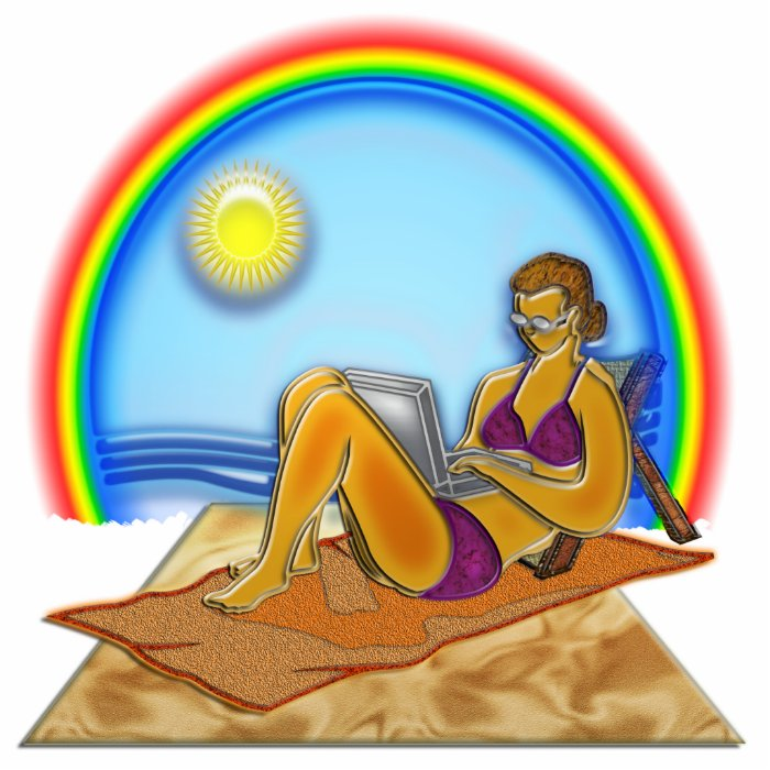 Women Laptop Computer at the Beach Rainbow Art Cutout
