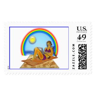 Women Laptop Computer at the Beach Rainbow Art Pri Postage Stamp