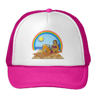 Women Laptop Computer at the Beach Rainbow Art Trucker Hat