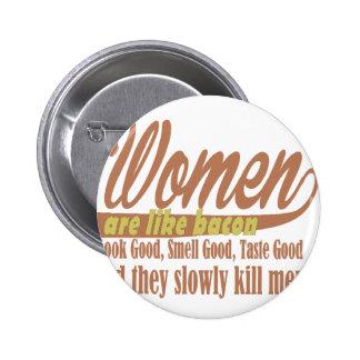 Women like bacon pinback button
