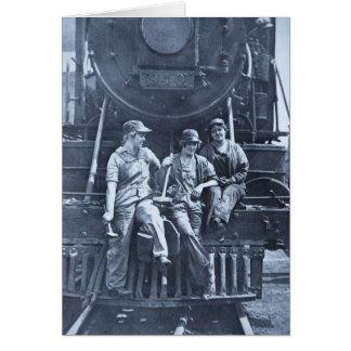 Women Locomotive Mechanics 1918 WWI Card