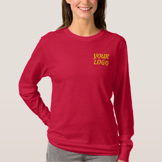 Women Long Sleeve Shirt Embroidered Company Logo