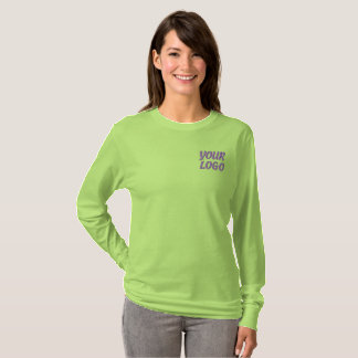 Women Long Sleeve Shirt with Embroidered Logo