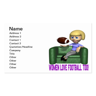 Women Love Football Too Double-Sided Standard Business Cards (Pack Of 100)