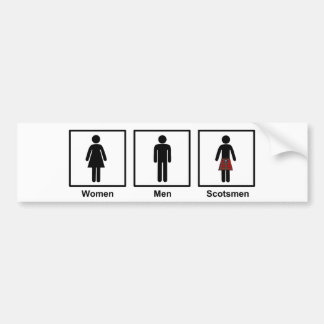 Women, Men, Scotsmen Humorous Toilet Signs Bumper Sticker
