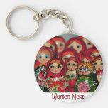Women Nest, Russian Nesting Dolls Basic Round Button Keychain